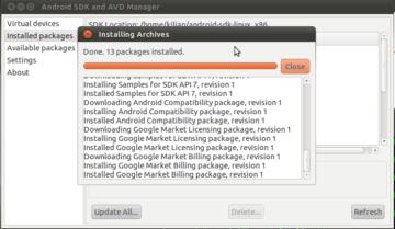 Stažení a aktualizace komponent Android SDK