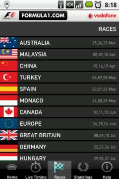V sekci Races je přehledný kalendář všech plánovaných závodů
