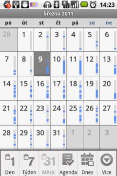 Kalendář v měsíčním pohledu