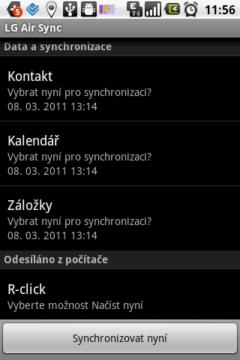 Nastavit synchronizaci LG Air Sync můžete provést v telefonu