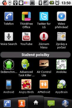 Aplikace jsou rozděleny na předinstalované a stažené