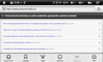 Prohlížeč uživatele znalé Androidu ničím nepřekvapí