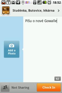 Zjednodušené přihlášení k místu umožňuje rovnou pořídit fotografii a napsat popisek