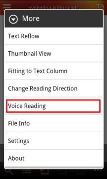 Volba hlasového čtení