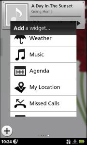 Nabídka widgetů