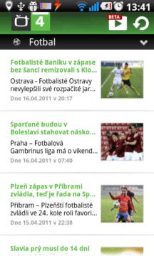 Hlavní stránka aplikace ČT4