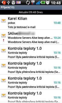 Aplikace E-mail-seznam doručených zpráv