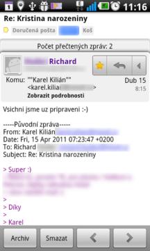 E-mailové zprávy můžete spravovat stejně, jako ve webovém rozhraní