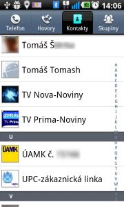 Kontakty jsou v seznamu prezentovány ikonou a jménem