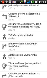 Itinerář vytvořený v Google Mapách