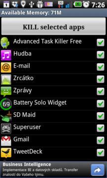 Advanced Task Killer zabíjí procesy jediným tapnutím