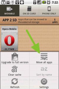 Přesun všech aplikací, které to umožňují