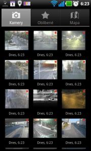 Seznam kamer v úspornějším tabulkovém pohledu