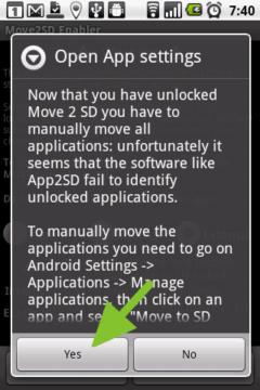 Upozornění, že App 2 SD a podobné aplikace nemusí fungovat správně