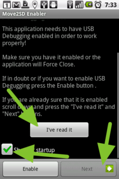 Úvodní obrazovka aplikace Move2SD Enabler