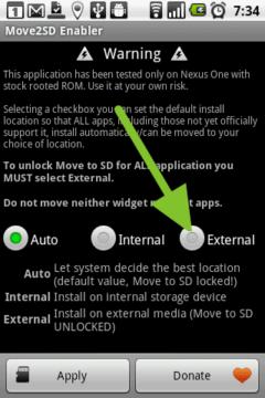 Volbou External zpřístupníte přesun aplikací na SD kartu