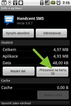 Přesun aplikace na kartu pomocí systémových prostředků