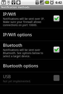 V sekci Notification methods zvolíte způsob komunikace mezi telefonem a PC