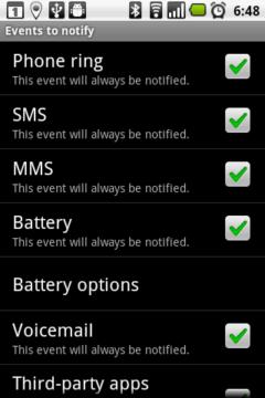 Na jaké události má Remote Notifier odesílat upozornění?