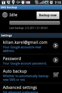 Hlavní obrazovka SMS Backup