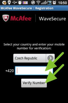 Telefonní číslo k registraci