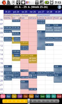 Týdenní pohled na kalendář