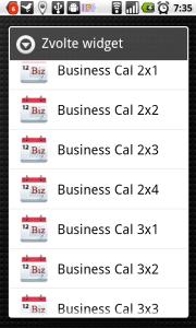 K dispozici je dvanáct rozměrů widgetů