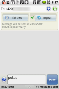 Nastavte si například automatické posílání SMSek s přáním k narozeninám