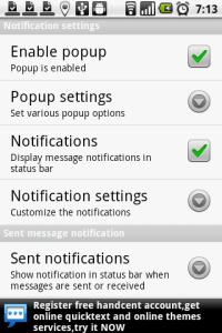 Nastavení způsobu upozornění na nové SMS