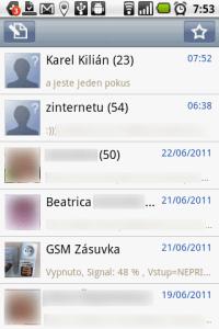 Handcent SMS-seznam konverzací