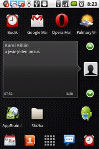 Středně velký widget s přístupem k doručeným SMSkám