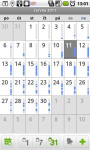 Měsíční pohled na kalendář
