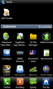 Seznam aplikací v režimu Kategorie