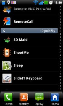 Seznam aplikací v režimu Seznam