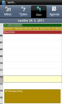 Denní přehled naplánovaných událostí