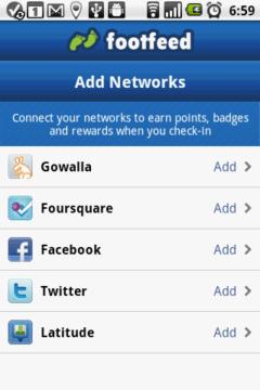Pak propojíte FootFeed s těmi službami, které chcete používat
