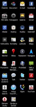 Aplikace nainstalované v telefonu