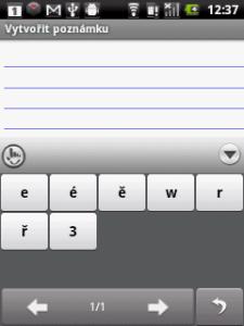 Takto se zobrazuje nabídka při dlouhém stisku klávesy