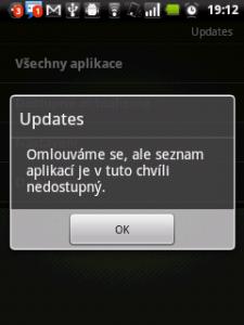 Aplikace Updates žádné aktualizace nenabízela