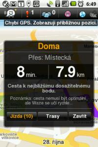 Tlačítkem Jízda zahájíte navigaci, nebo si přes Trasy necháte vypsat alternativní cesty.