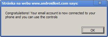Dialogové okno oznamující, že účet byl spojen s telefonem.