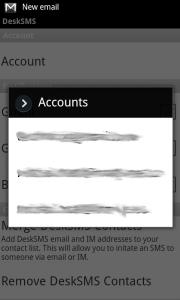 DeskSMS - výběr účtu