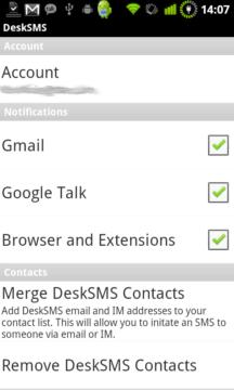 DeskSMS - zapnutí notifikací