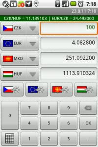 Současné zobrazení čtyř měn na jedné obrazovce a praktická klávesnice.