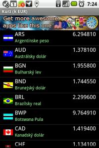 V sekci Menu-Zoznam, zmena, update pak najdete databázi všech podporovaných měn, jejichž kurzy můžete aktualizovat z Internetu.