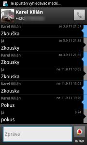 Free SMS Sender: Konverzace a editor
