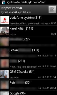 Free SMS Sender: Seznam konverzací