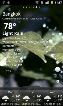 Hlavní okno aplikace GO Weather (obrázek je z Android Marketu, neboť náš program pro zachycení obsahu obrazovky nesejmul animaci)