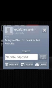 GO SMS Pro: Notifikační okno