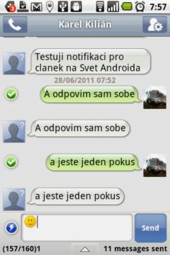Handcent SMS: Konverzace a editor